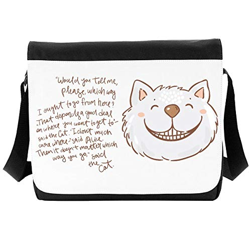 Alice Illustrations and Original Quotes (Style 23 Cheshire cat which Way) Shoulder Bag - Large