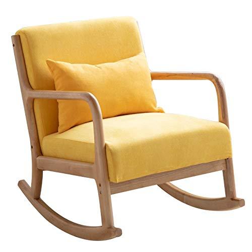 JIAJUYI Massivholz Schaukelstuhl Einzelsofaliege Balkonschlafsessel Bürosessel Moderner Minimalistischer Stuhl Für Zu Hause Tragfähigkeit: 200Kg-Gelb