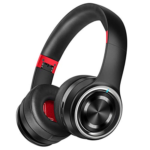Picun P26 Bluetooth Headphones Over Ear 40H Playtime Hi-Fi Stereo Wireless Headphones Deep Bass Foldable Wired/Wireless/TF for Cell Phone/PC Bluetooth 5.0 Wireless Headset with Mic (Black Red)