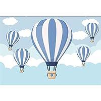 Assanu 10×6.5フィートビニール写真の背景漫画青い縞模様の火風船雲イラスト背景子供赤ちゃん男の子誕生日パーティーバナーケーキスマッシュ子供の部屋の壁紙