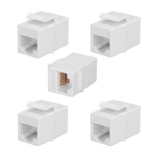 BATIGE 5-Pack CAT6 RJ45 Keystone Jack Female Coupler Insert Snap-in Connector Socket Adapter Port for Wall Plate Outlet Panel - White