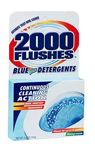 2000 Flushes Blue Plus Detergents Automatic Toilet Bowl Cleaner, 3.5 OZ [12-Pack]