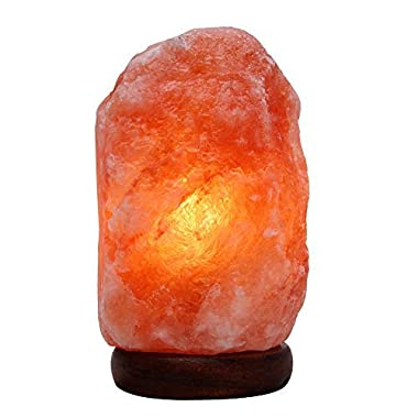 Himalayan Salt Lamp with Wood Base & Dimmer Cord & Light Bulbs,7-9 inch,6.6-11 lbs