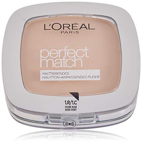 L'Oréal Paris Perfect Match Mattierendes Puder in 1.R./1.C. Rose Ivory, hautanpassend, verschmilzt perfekt mit dem Hautton, 9 g