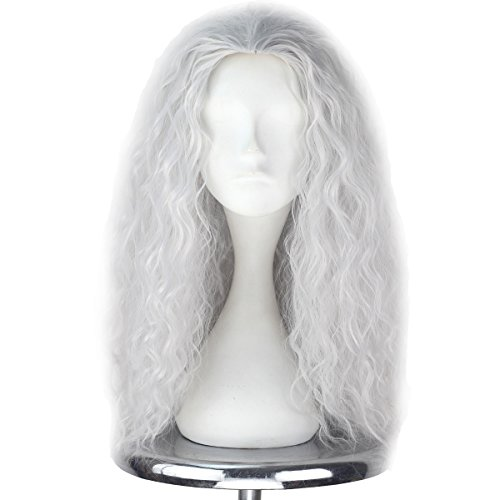 Old Lady Wig Witch Costume for Women Long Grey Wig Cosplay Halloween Hair Replacement Wig