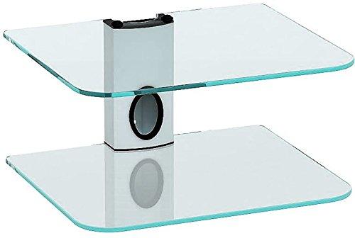 Goldline Sky Box Wall Mount, DVD Wall Shelf, DVD Wall Bracket and 2 x Floating clear glass shelves (2 Shelf, White)