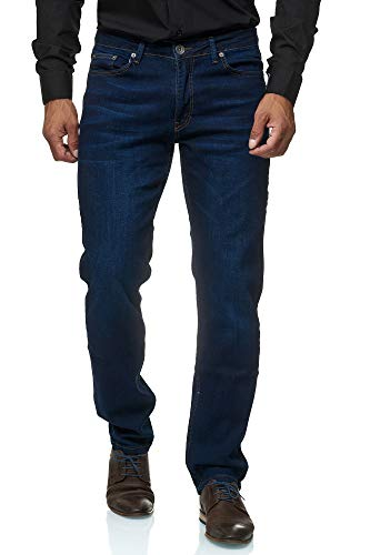 Jeel Herren-Jeans - Regular Fit Straight Cut - Stretch - Jeans-Hose Basic Washed 01-Navy 34W / 32L