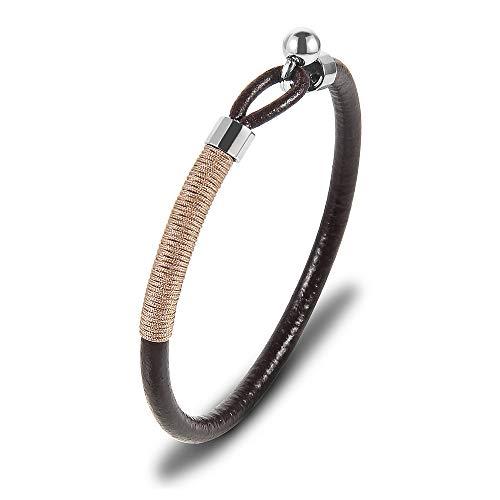 Casisto.J Pulsera de Cuero para Hombre Pulsera Negra Cuentas de Acero Inoxidable con Cuerda de Nylon marrón-22cm