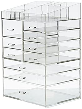 Cq acrylic Extra Large 8 Tier Clear Acrylic Cosmetic Makeup Storage Cube Organizer With 10 Drawers the Top of The Different Size of The Compartment Suitable for Storing Lipstick and Makeup Brush