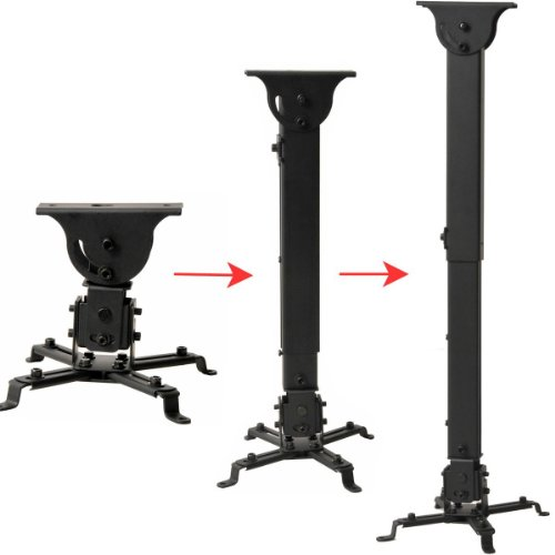 VideoSecu Flat Vaulted Ceiling Projector Mount LCD DLP Bracket with Adjustable Height Rotating Swivel Arm One Piece PJ2B 1C9