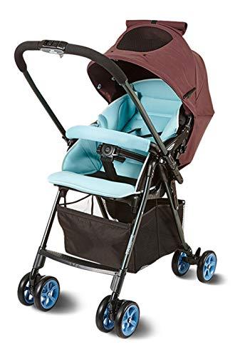 XIUSE&LEO Leicht Kinderwagen superleichter kompakt Buggy klein zusammenklappbar Rückenlehne stufenlos verstellbar bis Liegeposition Baby Regenschirm liegend,Blau