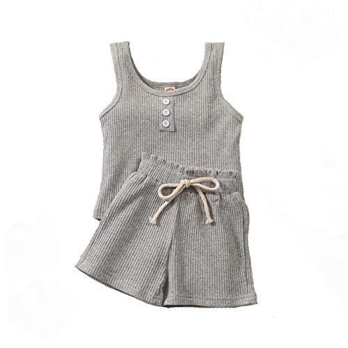 Ropa para niños y niñas, sin mangas, de algodón, pantalones cortos casuales, 2 piezas