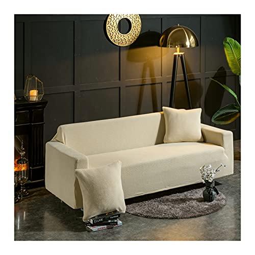 Daesar Funda de Sofas Elasticas,Cubierta para Sofas 3 Plazas,Color Sólido Fundas Sofa Beige,3 Plazas(190-230CM)