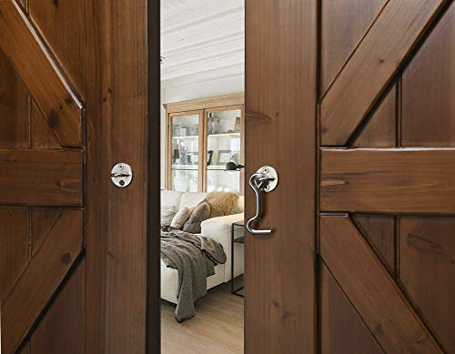 """Product Image 4: Raswik (2 Pack) 4"""" Privacy Hook and Eye Gate Latch Easy Lock for Sliding Barn Door, Satin Brushed Nickle"""