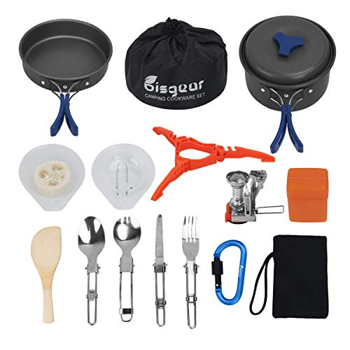 Bisgear 17pcs Camping Cookware Stove Carabiner Canister Stand Tripod Folding Spork Set Outdoor Camping Hiking Backpacking Non-Stick Cooking Picnic Knife Spoon Wine Opener