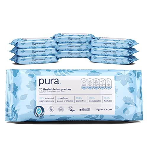 Pura Toallitas desechables para bebé (10 paquetes de 70 toallitas), 100% libre de plástico, biodegradables, 99% de agua orgánico Aloe Vera, vegano, apto para pieles sensibles, aprobadas por parteras