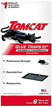 Tomcat Glue Traps Mouse Size with Eugenol for Enhanced Stickiness Contains 6 Mouse Size Glue Traps - Captures Mice and Other Household Pests - Professional Strength Pesticide-Free and Ready-to-Use