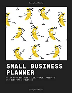 Small Business Planner - track your business sales, goals, products and everyday activities: banana is engaged martial arts emoji  -  Income Expense Inventory Order Suppliers Tracker