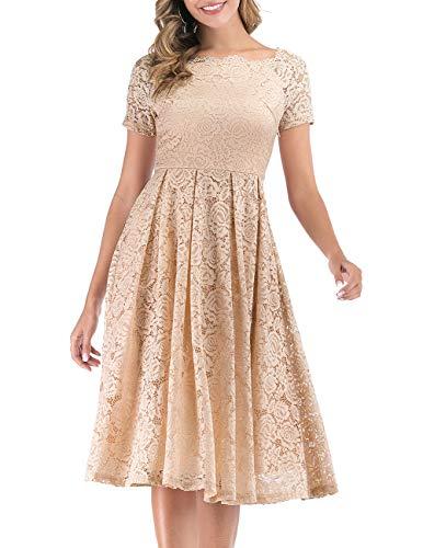 DRESSTELLS Damen elegant Spitzenkleid Brautjungfernkleid kurz Elegant Schulterfrei Sexy Cocktailkleid Midilang Champagne 2XL