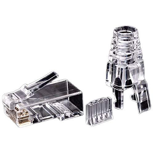 YIYIO 50 Piezas Cat6 RJ45 Conector Cable UTP Jack Ethernet 8P8C Red 6 Enchufes Modulares con Tapas RJ45 de 6.5 Mm