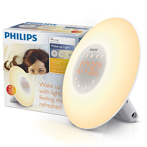 Philips SmartSleep Wake-Up Light Alarm Clock with Sunrise Simulation and Radio, White (HF3505)