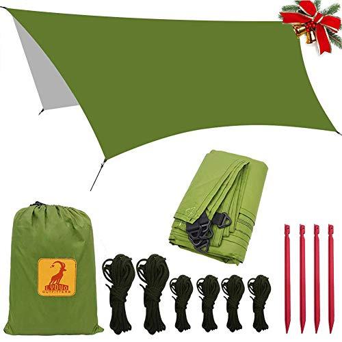 Toldo de Refugio Impermeable de 3x3.5 m, Portátil, para Camping y Protección contra Todo Tipo de Clima Carpa Lluvia Mosca Tarp, Camping Lona, Refugio Tarp, Verde