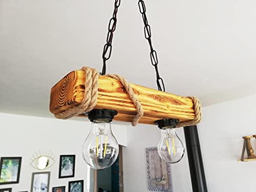 Solenzo – Lámpara de techo de madera y cuerda estilo industrial rústico...