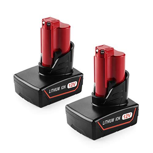 XNJTG 2pcs 12V 6000mAh Li-Ion Batería de Repuesto para Milwaukee M12 12V Batería 48-11-2410 48-11-2420 48-11-2411 48-11-2401 48-11-2402 M-12 Herramientas