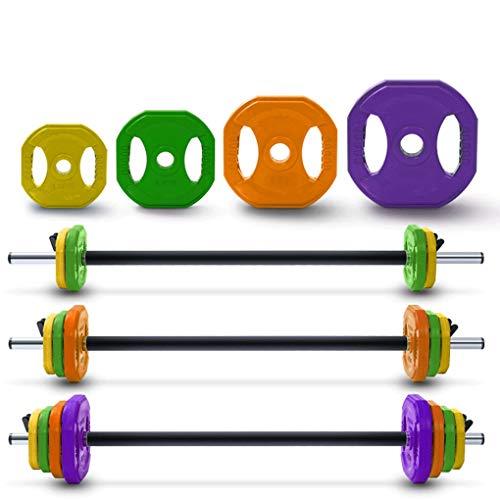 KXT Aerobic Langhantel-Set für Damen, Gewichtheben, Fitness-Ausrüstung, Farbloch, Handgriff, gummiert, Kniebeugen (Größe: 2 x 1,25 kg)
