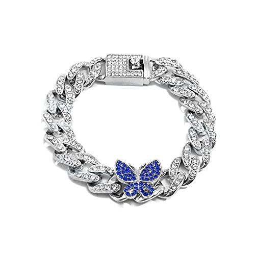 Fairvir Pulseras de mariposa plata brillo Rhinestone mano cadena cristal elegante joyería accesorios fiesta para mujeres y niñas
