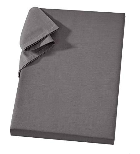 Griffiges Linonleintuch ohne Gummizug 150 x 250 cm Anthrazit Dunkelgrau 100 % Baumwolle Vielseitiges Haustuch Tischtuch Sofa- und Sessel-Überwurf Linonüberwurf Linonhaushaltstuch Linon Bettlaken