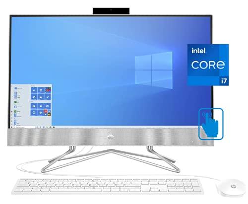 HP 27 All-in-One Desktop PC, 27 Inch FHD IPS Touchscreen, Intel i7-1165G7, 32GB RAM, 1TB SSD + 1TB HDD, Intel Iris Xe Graphics, Webcam, Windows 10 Home, KKE External DVD-RW