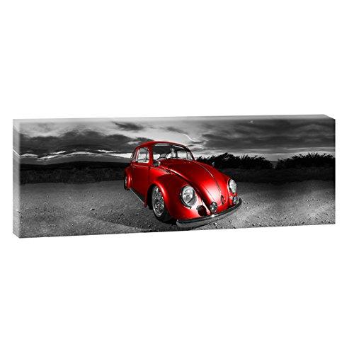 Querfarben VW Käfer | Panoramabild im XXL Format | Poster | Wandbild | Fotografie | Trendiger Kunstdruck auf Leinwand Größen (150 cm x 50 cm, SW/Rot)