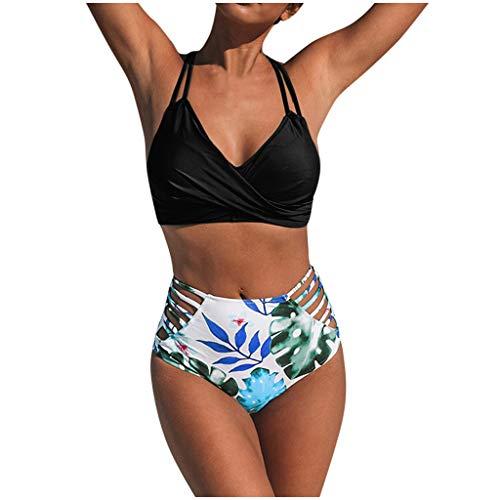 Eaylis Damen Bademode Sexy Bikini Blumendruck Satz Schwimmen Schnüren Sich Oben Badeanzug Badebekleidung mit Zwei Stücken Strandmode Sport Schwimmanzug