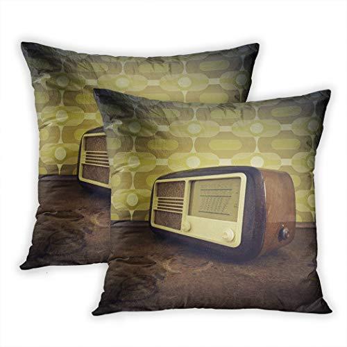 Suike - Juego de 2 fundas de almohada con tecnología antigua radio en altavoz vintage clásico de poliéster suave acogedor cuadrado decorativo fundas de almohada para sofá dormitorio de 45 x 40 cm
