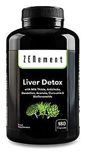 Detox Hígado, 180 Cápsulas, con Cardo Mariano, Alcachofa, Diente de León, Acerola, Cúrcuma y Bioflavonoides | Depurativo, antioxidante, mejora la digestión | Natural, Vegano, No-GMO | de Zenement