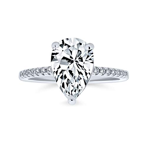 Bling Jewelry 2.5Ct Teardrop Birne Form Solitär AAA Cz Verlobungsring Für Frauen Pflaster Dünne Band Zirkonia 925 Sterling Silber