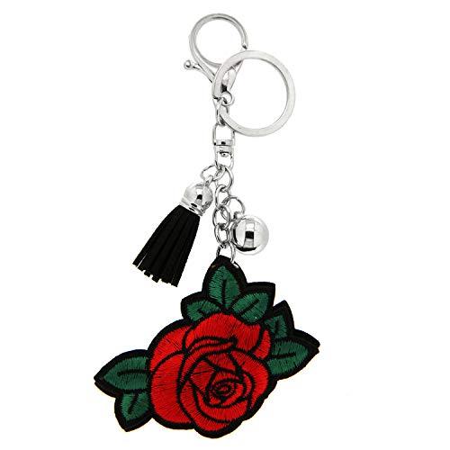 Sweet Deluxe Schlüsselanhänger Rose, Silber/rot/grün I Cooler Schlüsselhalter für Damen & Mädchen I Geschenk-Idee für Frauen & BFF Freundin I individueller Schlüsselring