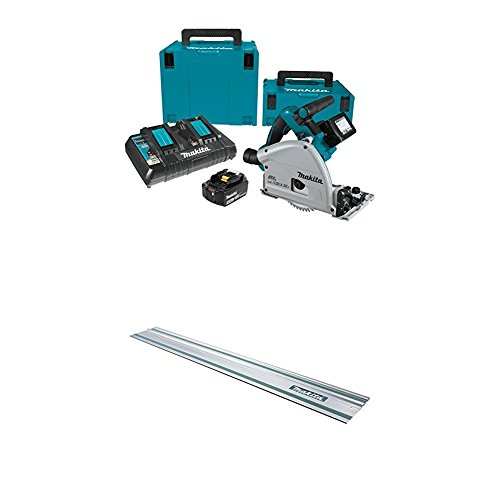 """Makita XPS01PTJ 5.0Ah 18V X2 LXT Lithium-Ion (36V) Brushless Cordless 6-1/2"""" Plunge Circular Saw Kit with 194368-5 Guide Rail, 55-Inch"""