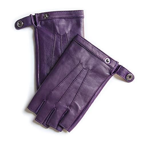 YISEVEN Damen Fingerlose Schaffell Lederhandschuhe Halbfinger Autofahrer-Handschuhe Winter Leder Geschenk, Lila XL/8.0