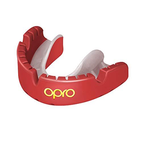 OPRO Ortodoncia Self-Fit Gold Mouthguard: para Rugby, Hockey, Artes Marciales Mixtas y Otros Deportes de Contacto (Rojo)