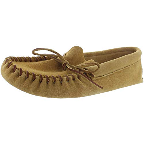 Minnetonka Men's Leather Laced Softsole Moccasin,Tan,11 M US