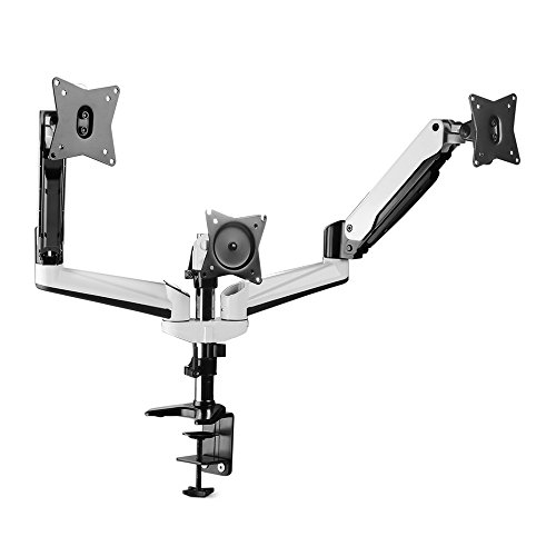 """TNP Triple Monitor Stand Mount - Articulating Gas Spring Monitor Arm Desk Stand Adjustable VESA Mount Bracket for Computer Flat Screen LCD Display 15-24"""" Angle Free Tilt Swivel Rotate with Clamp Base"""