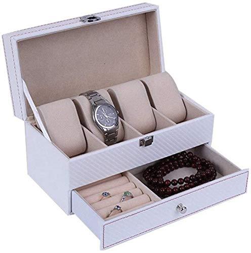 ZHANG Cajas de Reloj Caja de Joyería de Reloj 2 Capas 4 Rejillas Vitrina de Almacenamiento de Reloj de Cuero con Compartimento para La Tienda en Casa