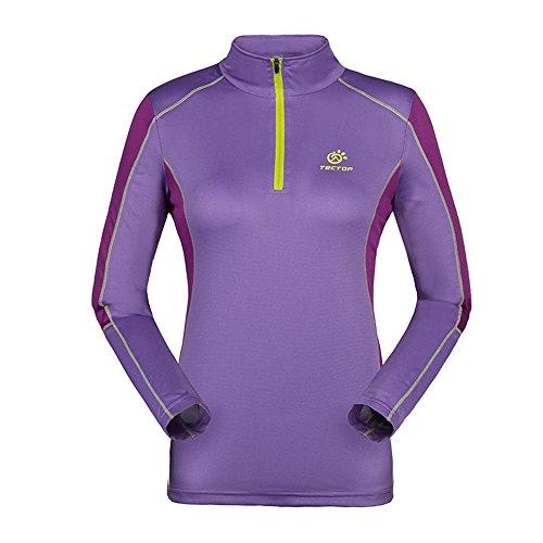 emansmoer Femme Manches Longues 1/4 Zip Pullover Tops Respirante Outdoor Randonnée Course Sport Moisture Wicking T-Shirt (Medium, Violet)