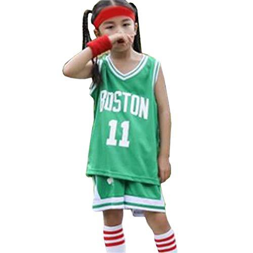 Boston Celtics 11# Kinder Basketball Trikot Anzug Kyrie Irving, 2-teilige Weste Shorts Set Trainingsanzug Jogging Gym Sportswear-Green-XXL