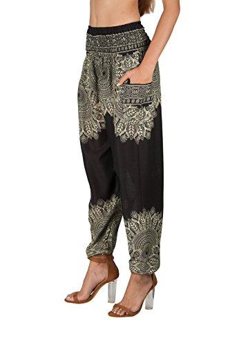JOOP JOOP Bohemian Tapered Elephant Harem Loose Yoga Pants Onyx Small / Medium
