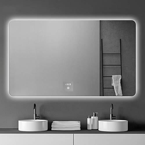 Espejo de baño luz LED antiniebla Maquillaje Inteligente Pantalla táctil Ajuste de luz y Brillo Tricolor Prueba de explosiones 50x70 / 60x80 / 70x90cm