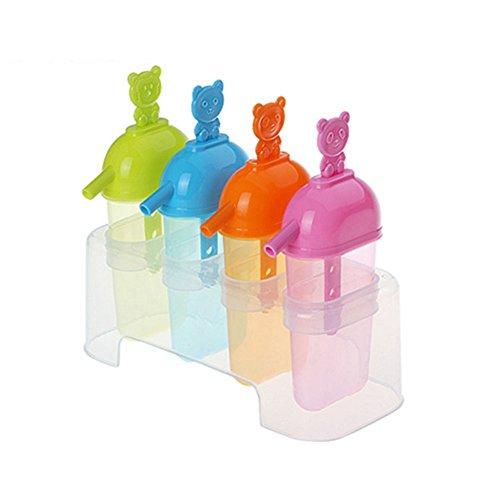 Lot de 4 moules à glace créatifs réutilisables avec paille pour glaces glacées