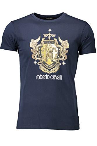Roberto Cavalli HST64E - Camiseta de manga corta para hombre Azul 04926 Navy XL